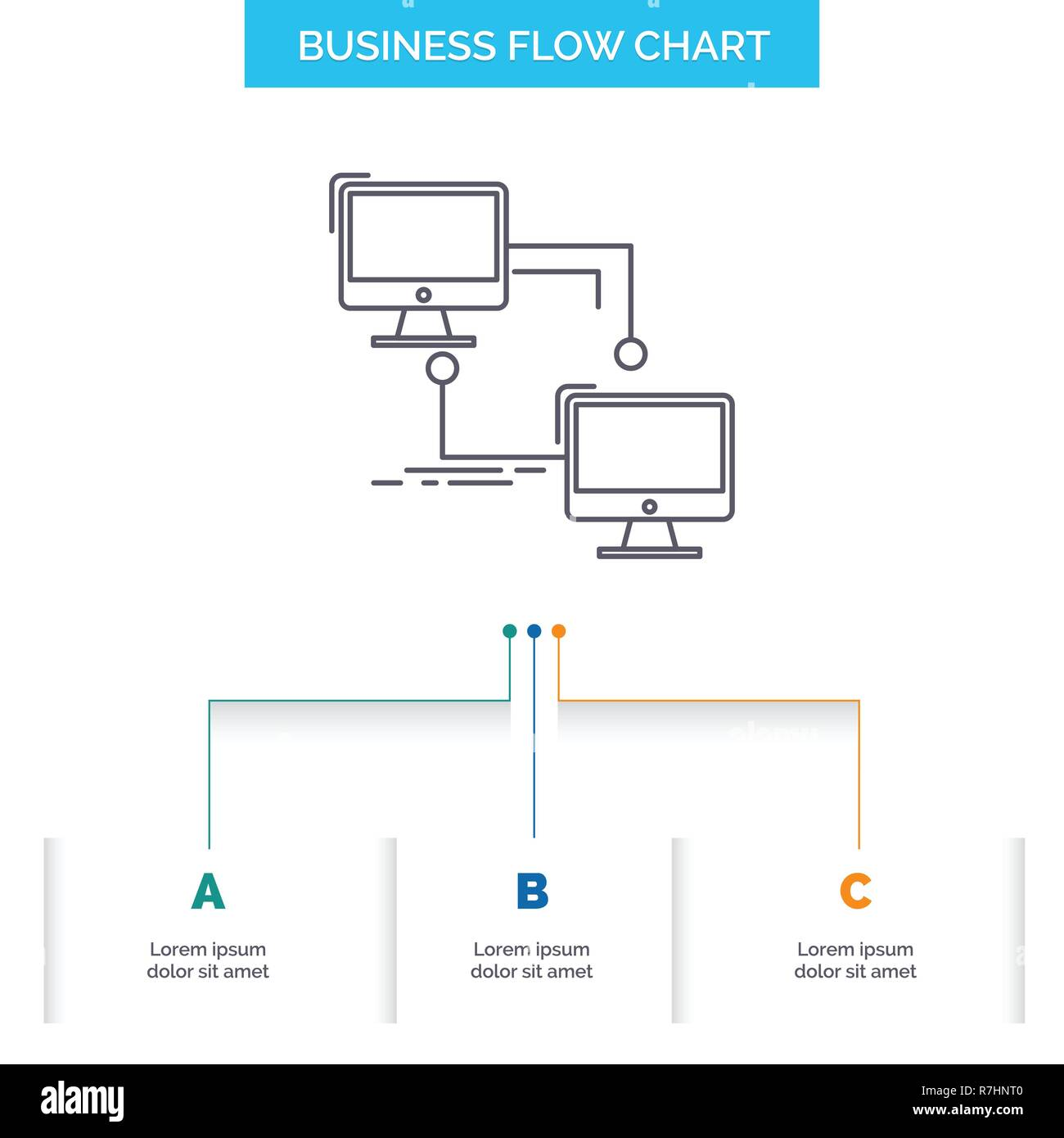 hight resolution of local lan connection sync computer business flow chart design with 3 steps line icon for presentation background template place for text