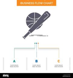 baseball basket ball game fun business flow chart design with 3 steps glyph icon for presentation background template place for text  [ 1300 x 1390 Pixel ]
