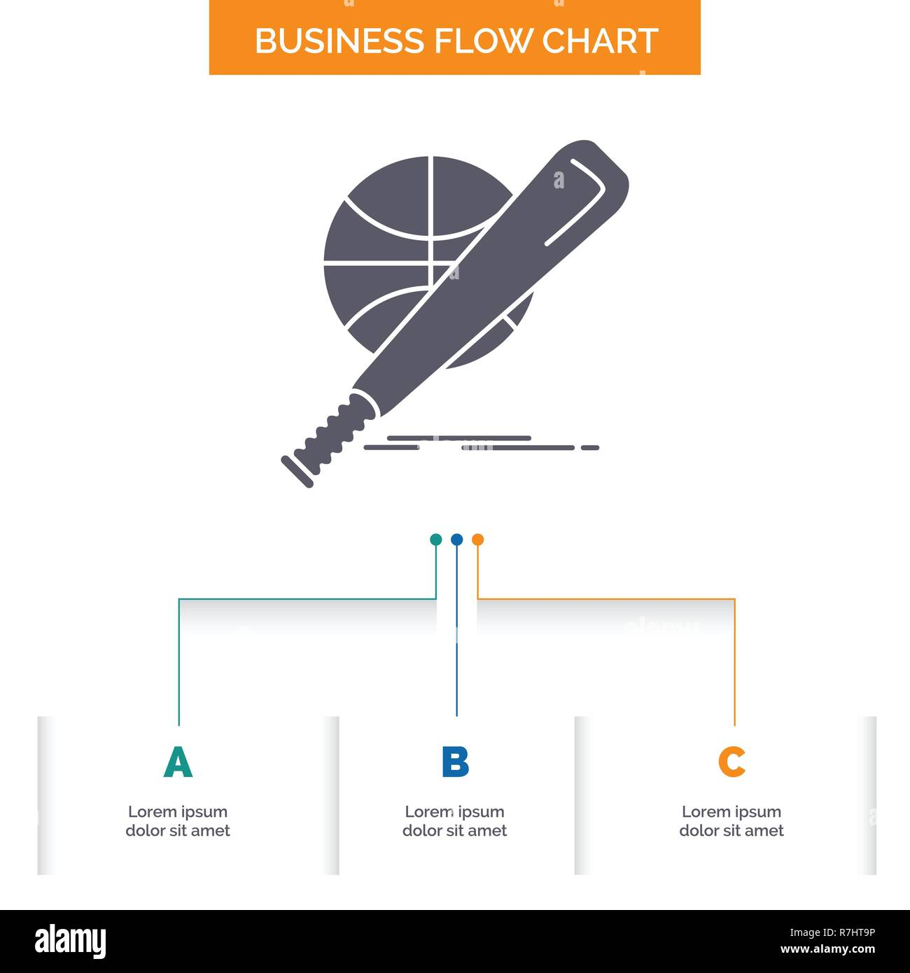 hight resolution of baseball basket ball game fun business flow chart design with 3 steps glyph icon for presentation background template place for text