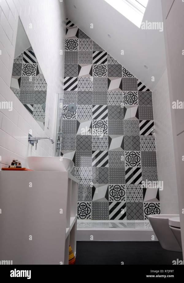 Modern Loft Bathroom With High Ceiling Walk In Shower And