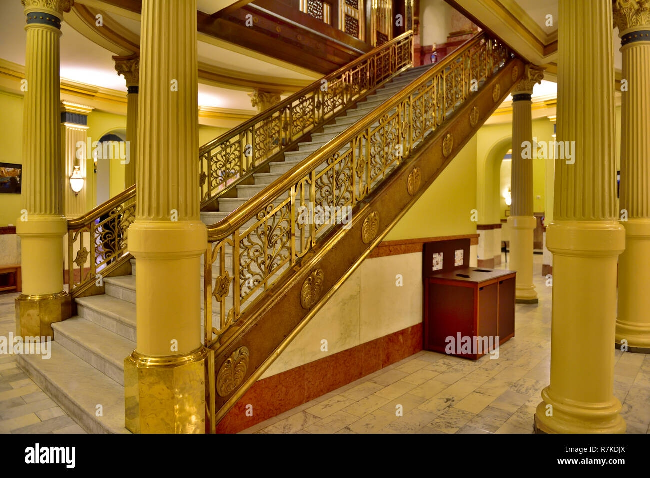 Grand Staircase Inside Colorado State Capital Building With Brass | Brass Handrails For Stairs | Aluminum | Classic | Medallion | Cantilevered Spiral Stair | Wrought Iron Railing