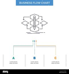 algorithm design method model process business flow chart design with 3 steps line icon for presentation background template place for text [ 1300 x 1390 Pixel ]
