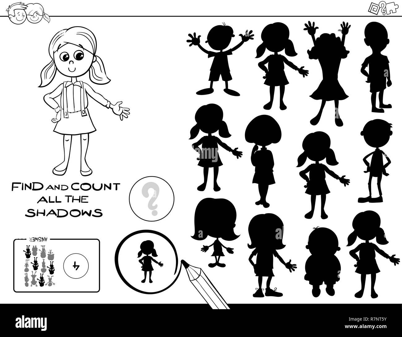 Black And White Cartoon Illustration Of Finding And