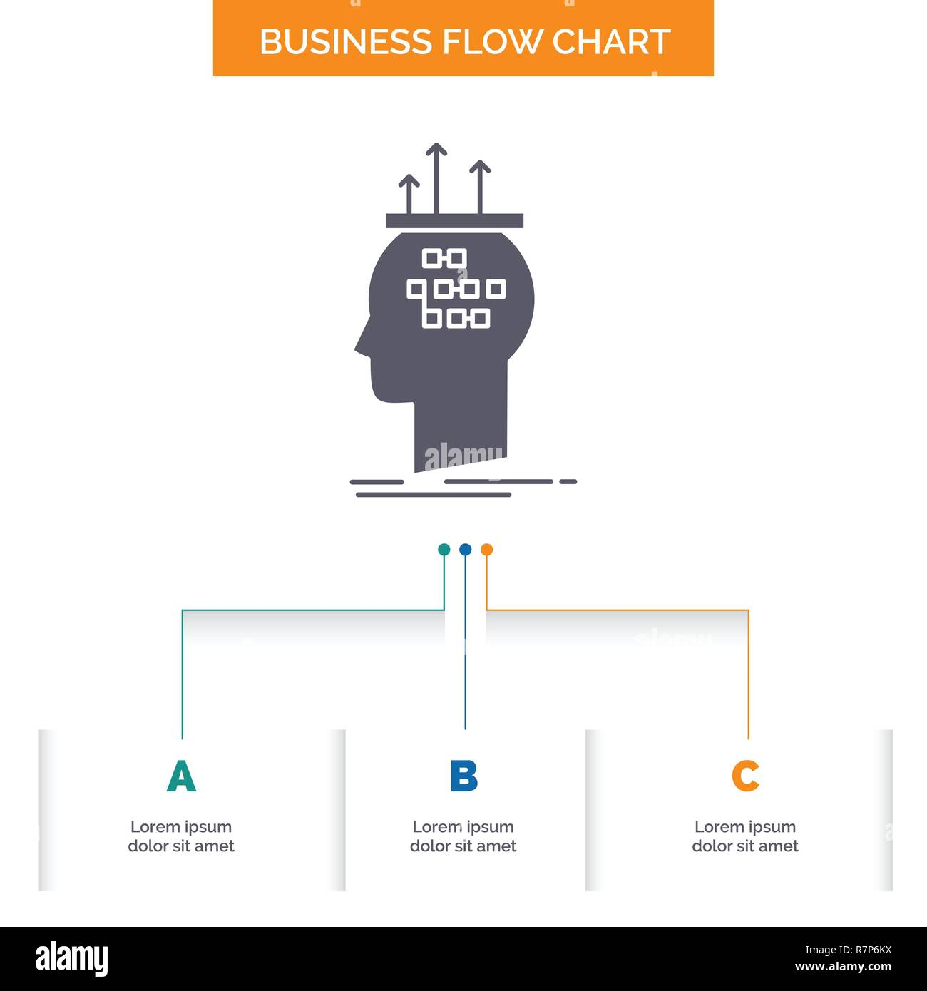 hight resolution of algorithm brain conclusion process thinking business flow chart design with 3 steps glyph icon for presentation background template place for tex