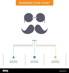 moustache hipster movember glasses men business flow chart design with 3 steps [ 1300 x 1390 Pixel ]