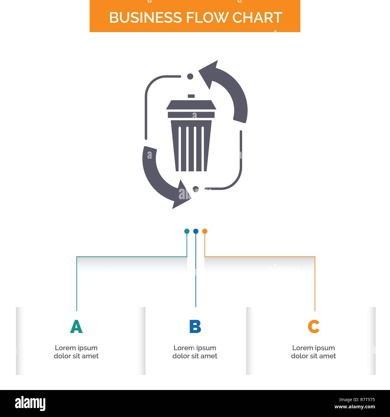 hight resolution of waste disposal garbage management recycle business flow chart design with 3 steps glyph icon for presentation background template place for text