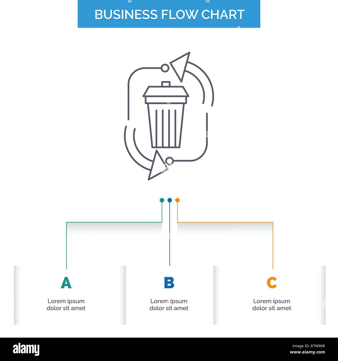hight resolution of waste disposal garbage management recycle business flow chart design with 3 steps line icon for presentation background template place for text
