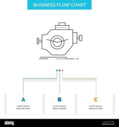 engine industry machine motor performance business flow chart design with 3 steps line icon for presentation background template place for text [ 1300 x 1390 Pixel ]