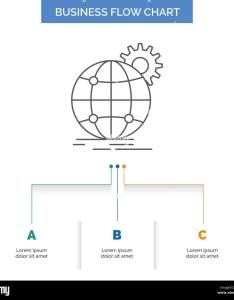 International business globe world wide gear flow chart design with steps line icon for presentation background template place tex also rh alamy