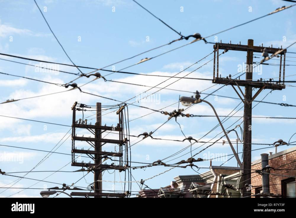 medium resolution of electric power lines on wooden poles electricity supply phone lines and streetcar cables