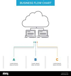 cloud network server internet data business flow chart design with 3 steps line icon for presentation background template place for text [ 1300 x 1390 Pixel ]