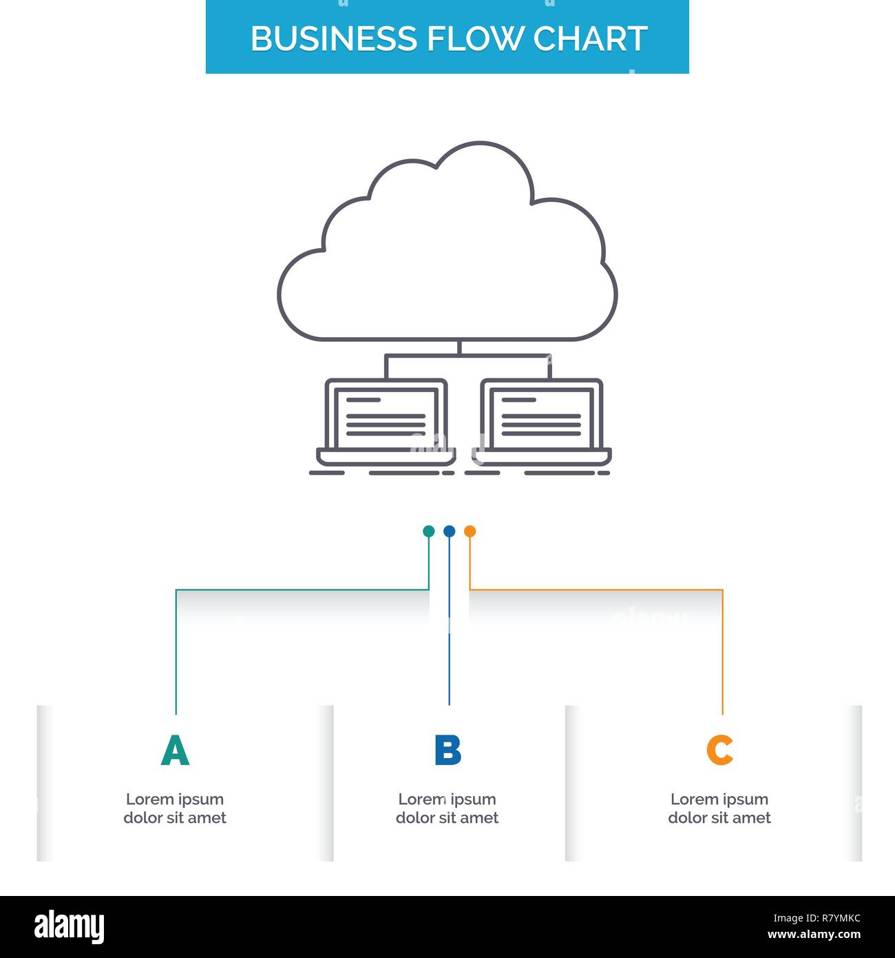 hight resolution of cloud network server internet data business flow chart design with 3 steps line icon for presentation background template place for text