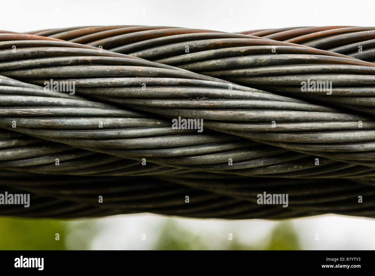hight resolution of thick braided wire cable on suspension bridge
