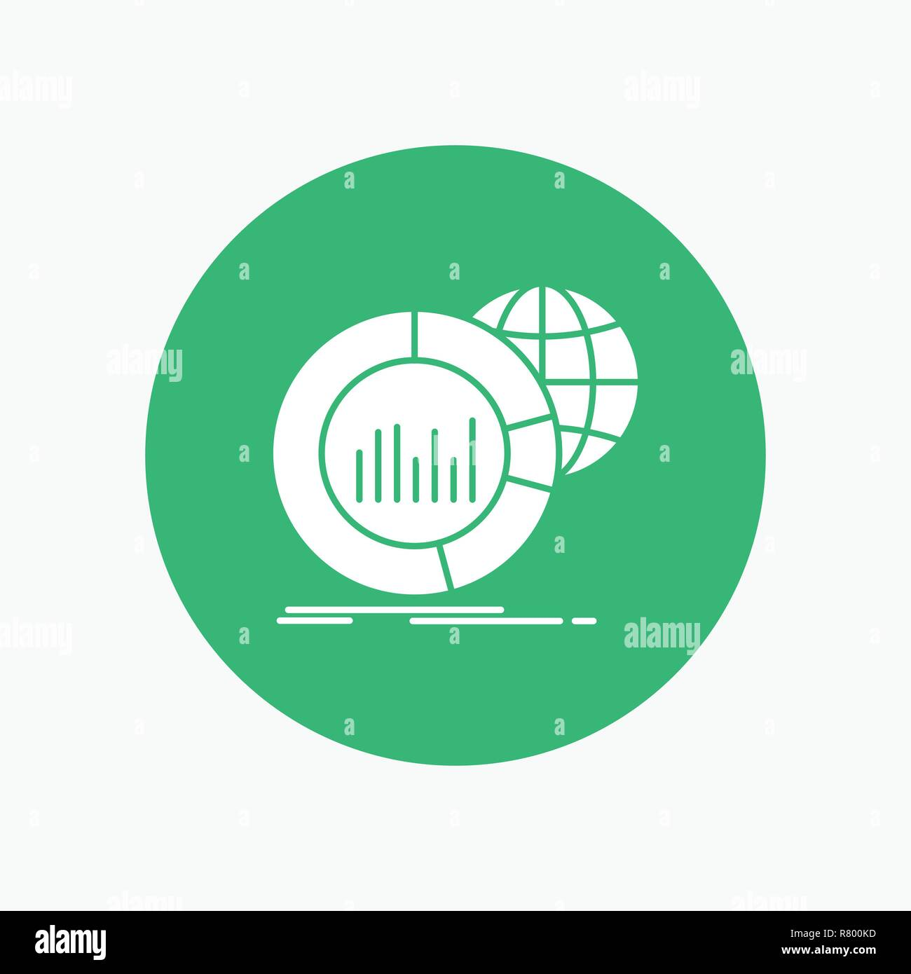 hight resolution of big chart data world infographic white glyph icon in circle vector button illustration