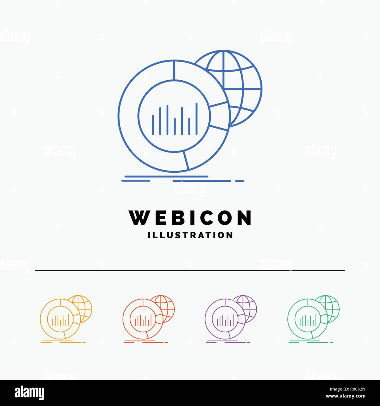 hight resolution of big chart data world infographic 5 color line web icon template isolated on white vector illustration