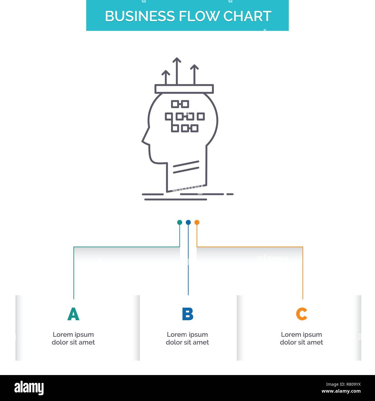 hight resolution of algorithm brain conclusion process thinking business flow chart design with 3 steps line icon for presentation background template place for text