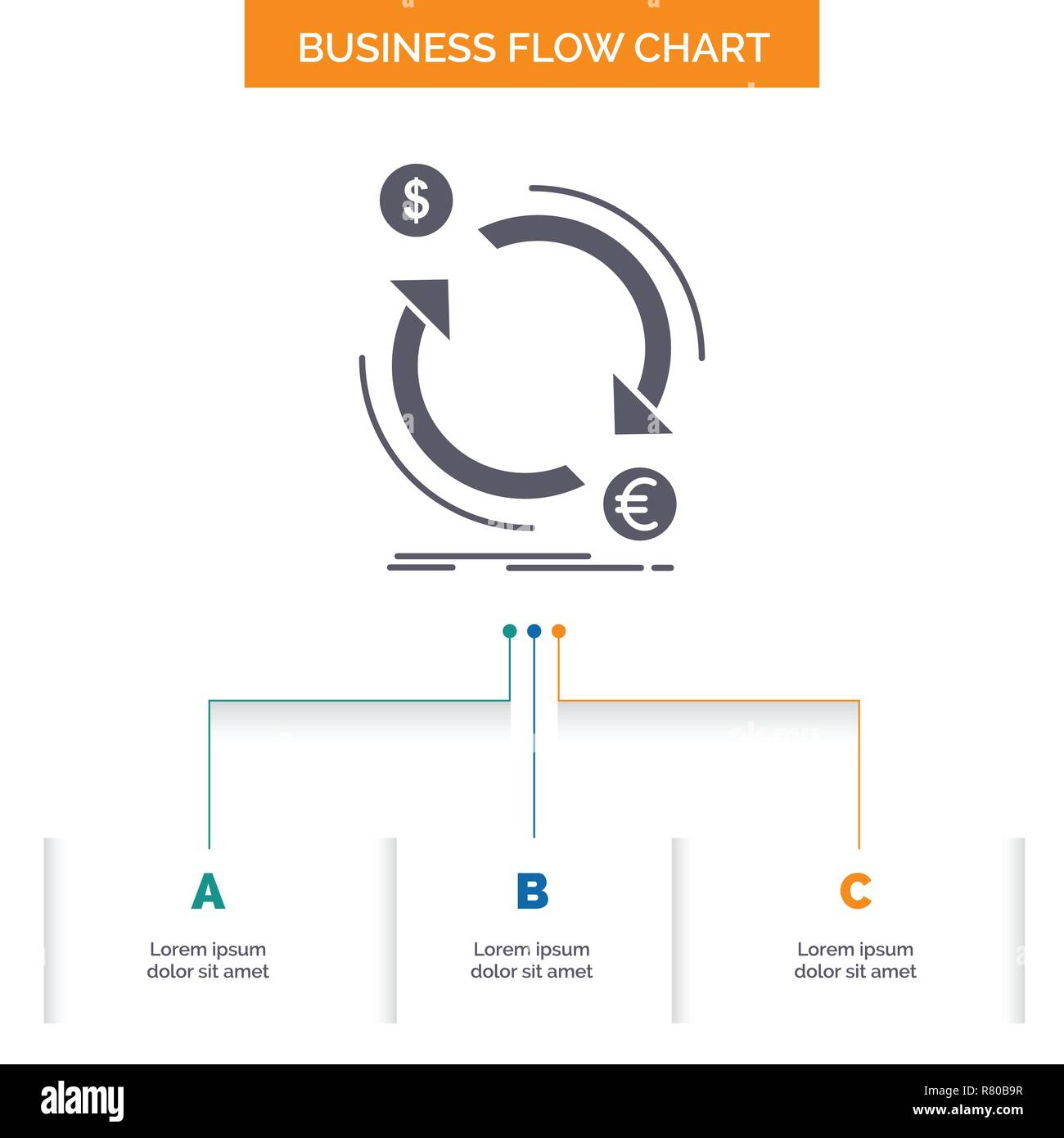 hight resolution of exchange currency finance money convert business flow chart design with 3 steps glyph icon for presentation background template place for text
