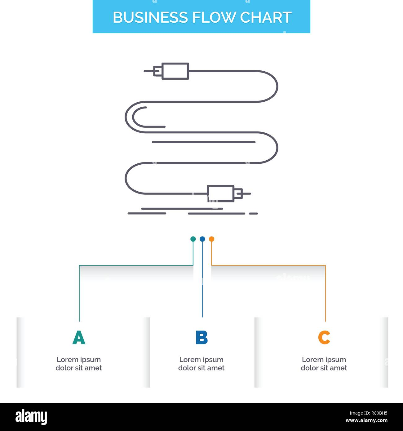 hight resolution of audio cable cord sound wire business flow chart design with 3 steps line icon for presentation background template place for text