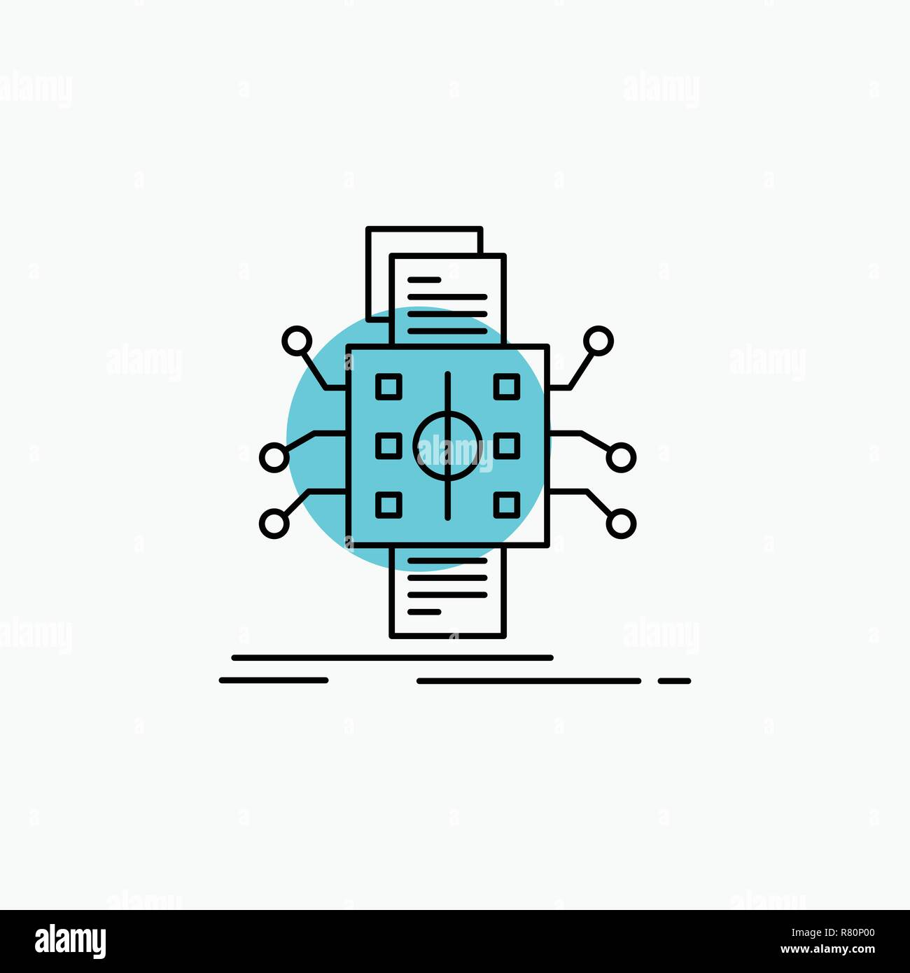 hight resolution of analysis data datum processing reporting line icon stock image