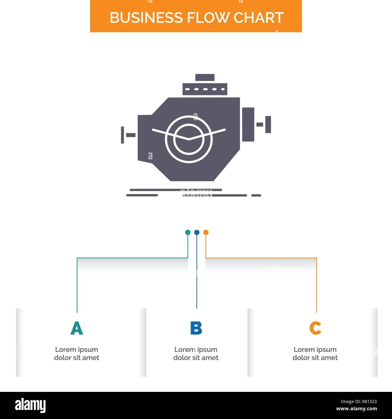 hight resolution of engine industry machine motor performance business flow chart design with 3 steps glyph icon for presentation background template place for text