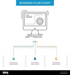 command computer function process progress business flow chart design with 3 steps line icon for presentation background template place for text [ 1300 x 1390 Pixel ]