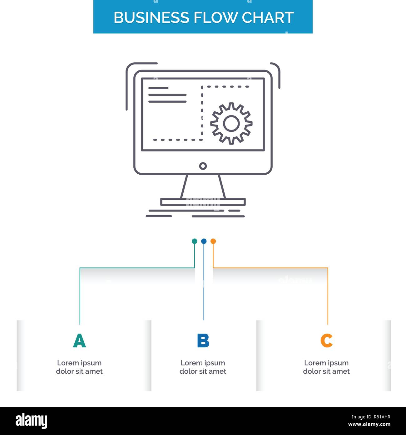hight resolution of command computer function process progress business flow chart design with 3 steps line icon for presentation background template place for text