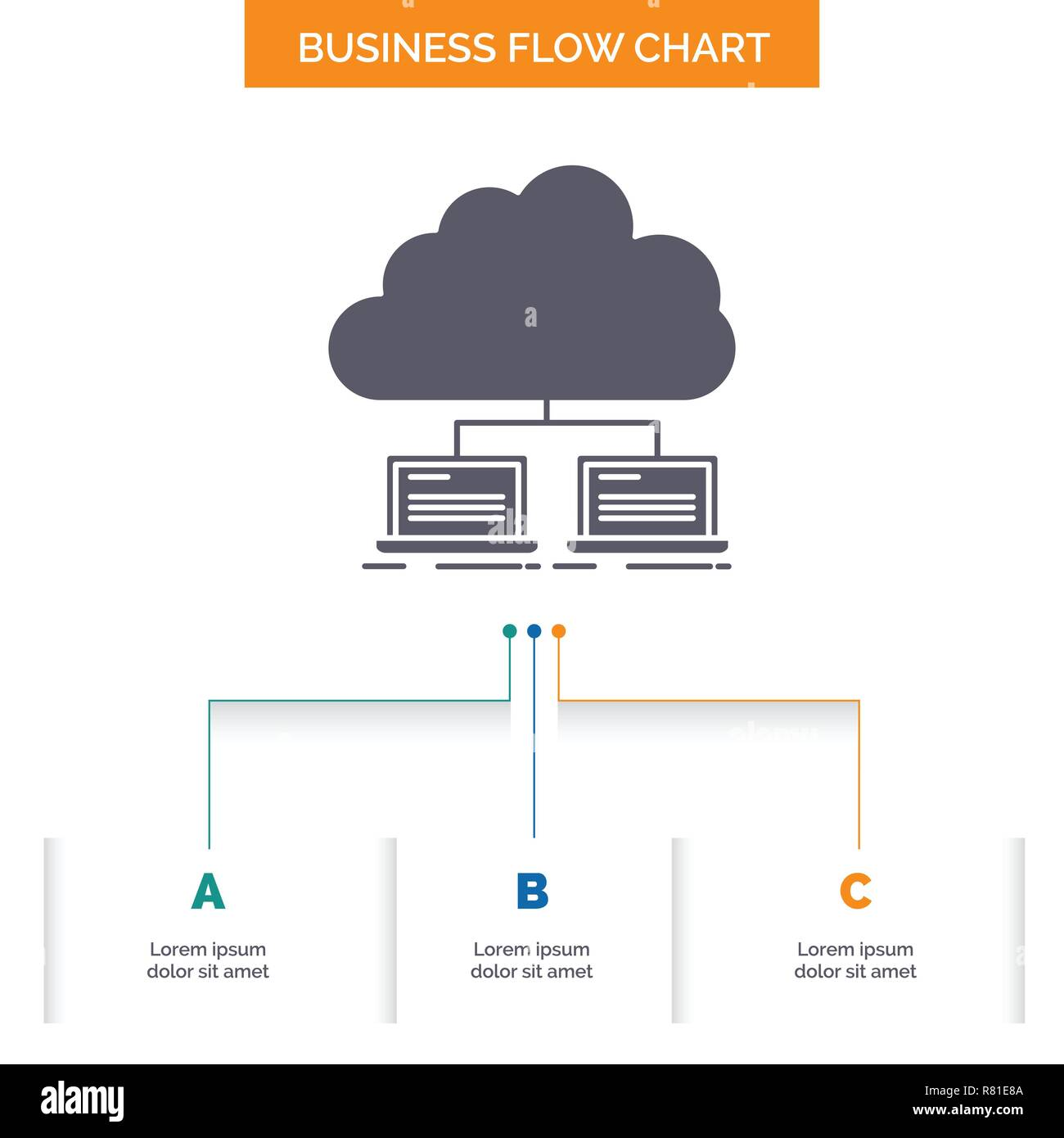 hight resolution of cloud network server internet data business flow chart design with 3 steps glyph icon for presentation background template place for text