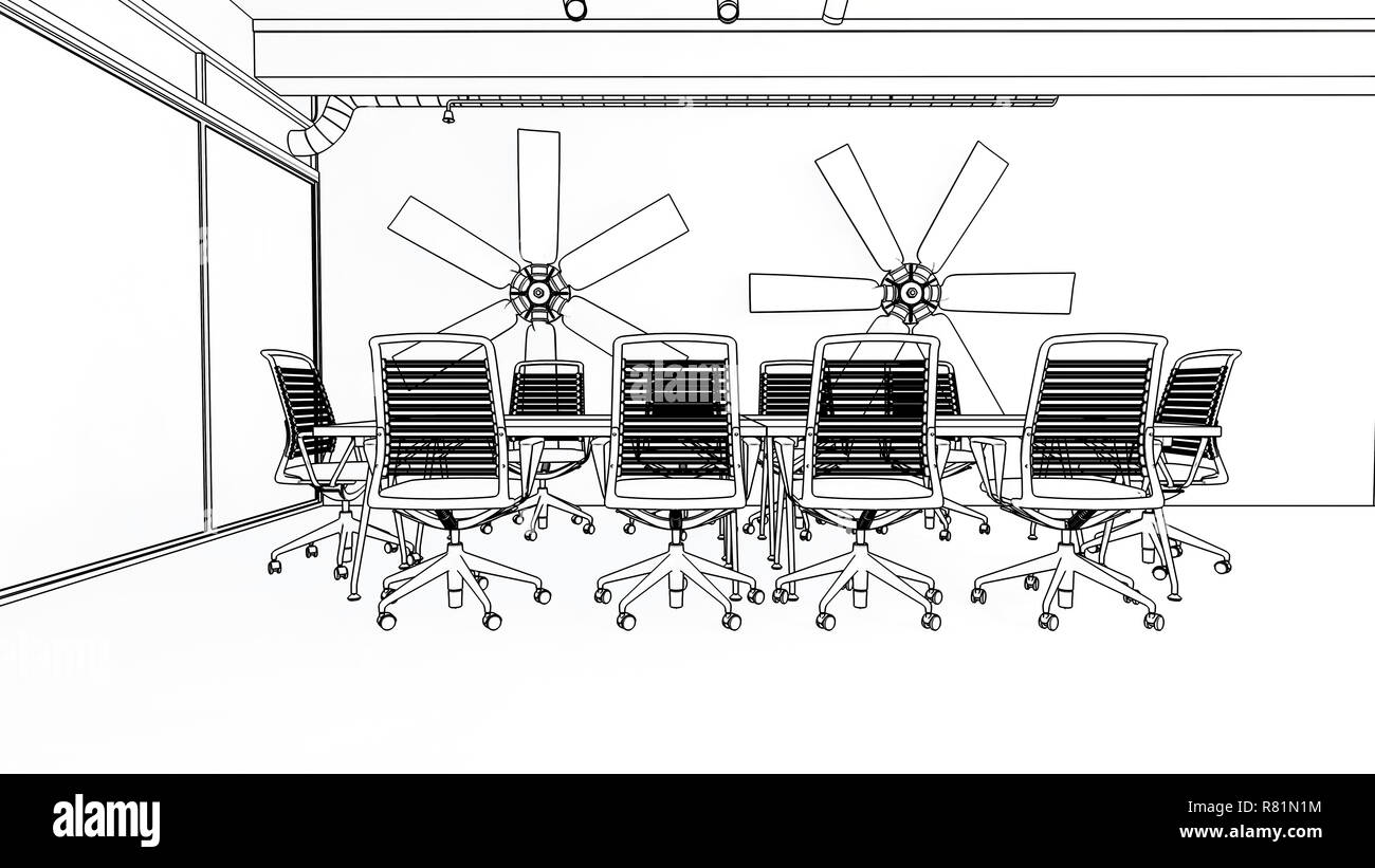 hight resolution of a modern corporate business meeting room illustration with empty chairs and a long table 3d rendering