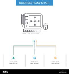 design graphic tool software web designing business flow chart design with 3 steps line icon for presentation background template place for text [ 1300 x 1390 Pixel ]