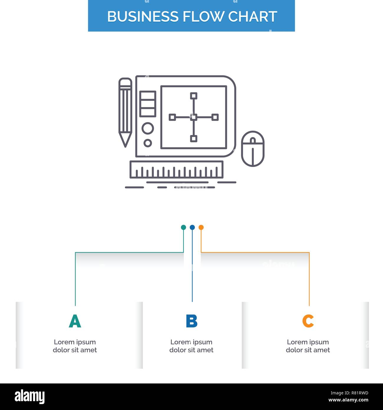 hight resolution of design graphic tool software web designing business flow chart design with 3 steps line icon for presentation background template place for text