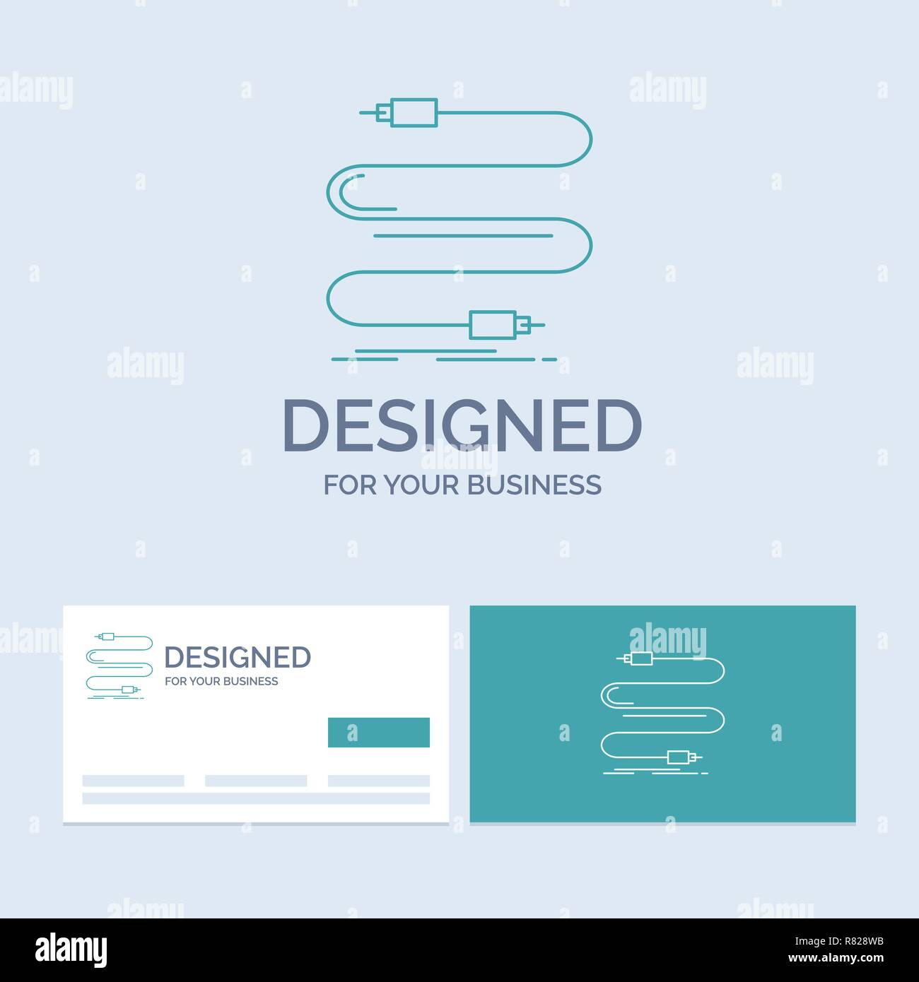 hight resolution of audio cable cord sound wire business logo line icon symbol for your business turquoise business cards with brand logo template