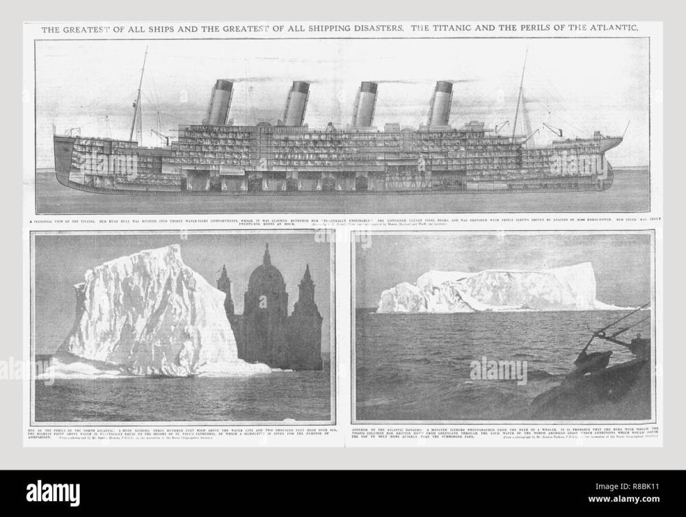 medium resolution of sectional diagram of the titanic and iceberg april 20 1912