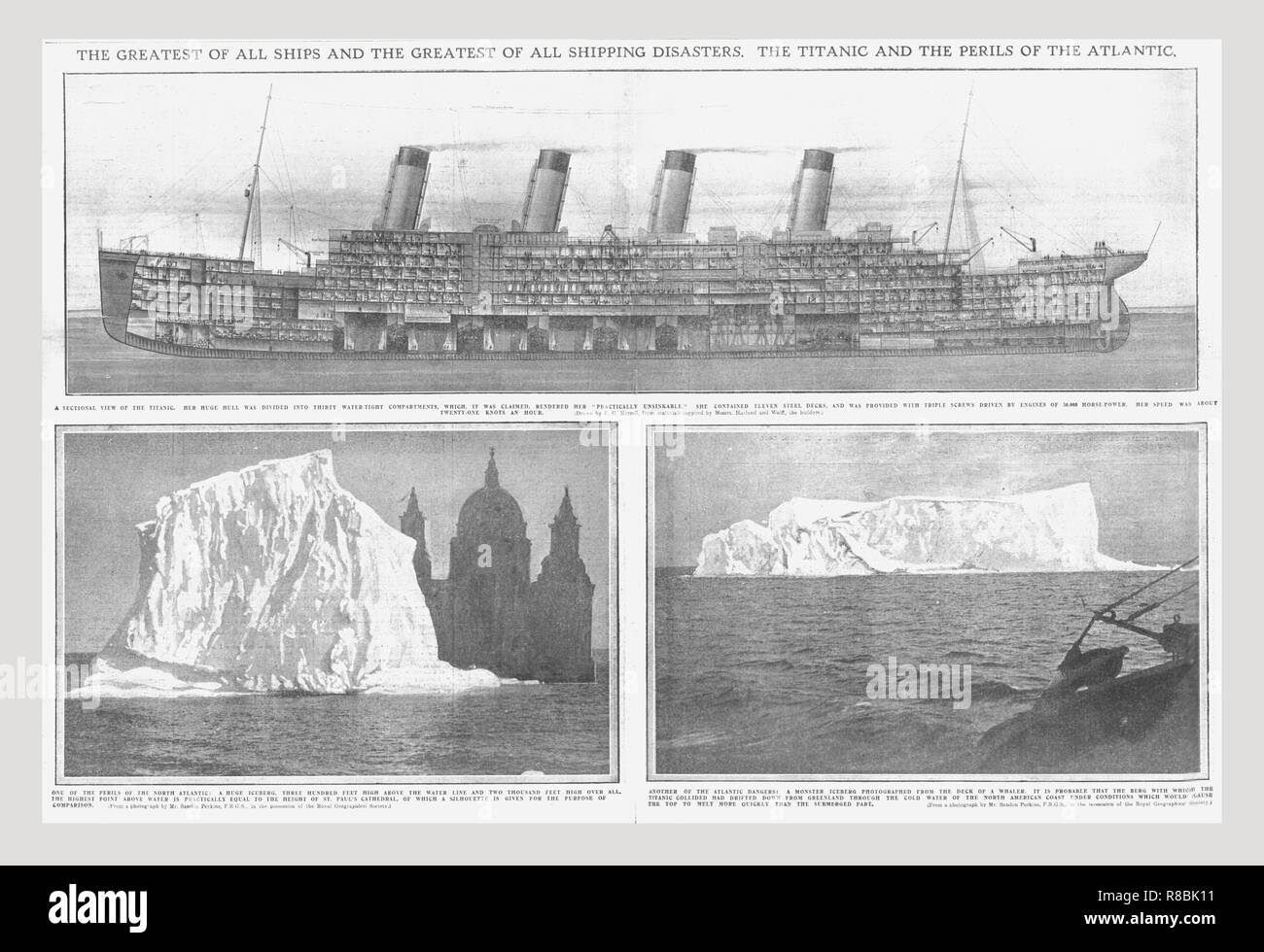 hight resolution of sectional diagram of the titanic and iceberg april 20 1912