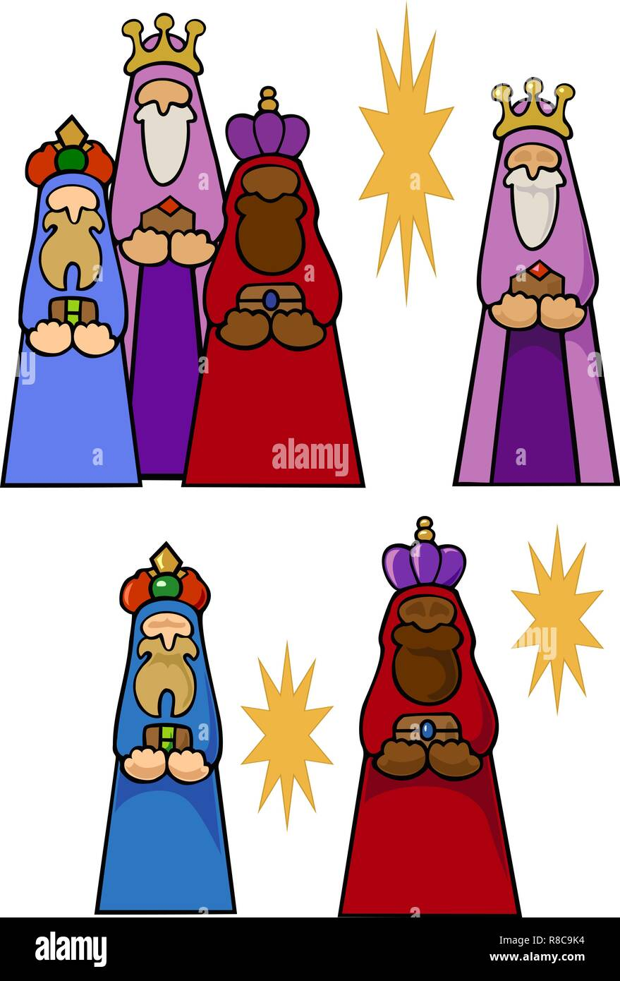 hight resolution of the magi with their gifts for the christ child and some stars variations with