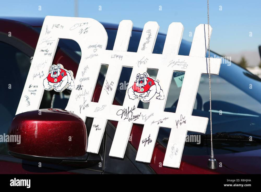 medium resolution of december 15 2018 an autographed fresno state bulldogs defense sign waits for the owner