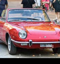 ancona italy september 23th 2018 fiat 850 spider convertible at a vintage [ 1300 x 956 Pixel ]