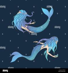 creatures mythical underwater mermaids background fantasy vector dark sea isolated alamy