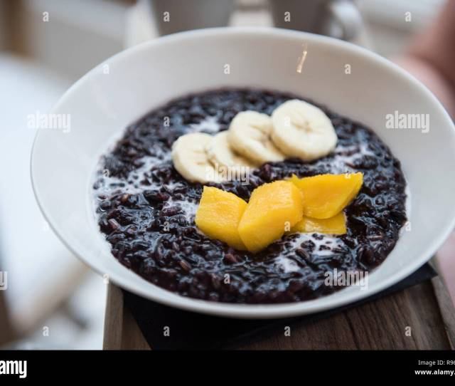 Image Of Very Delicious And Tastyblack Rice Coconut Milk Mango And Banana Is Seen Being Sold At A Restaurant In Spain The Food Seems To Be Very Del