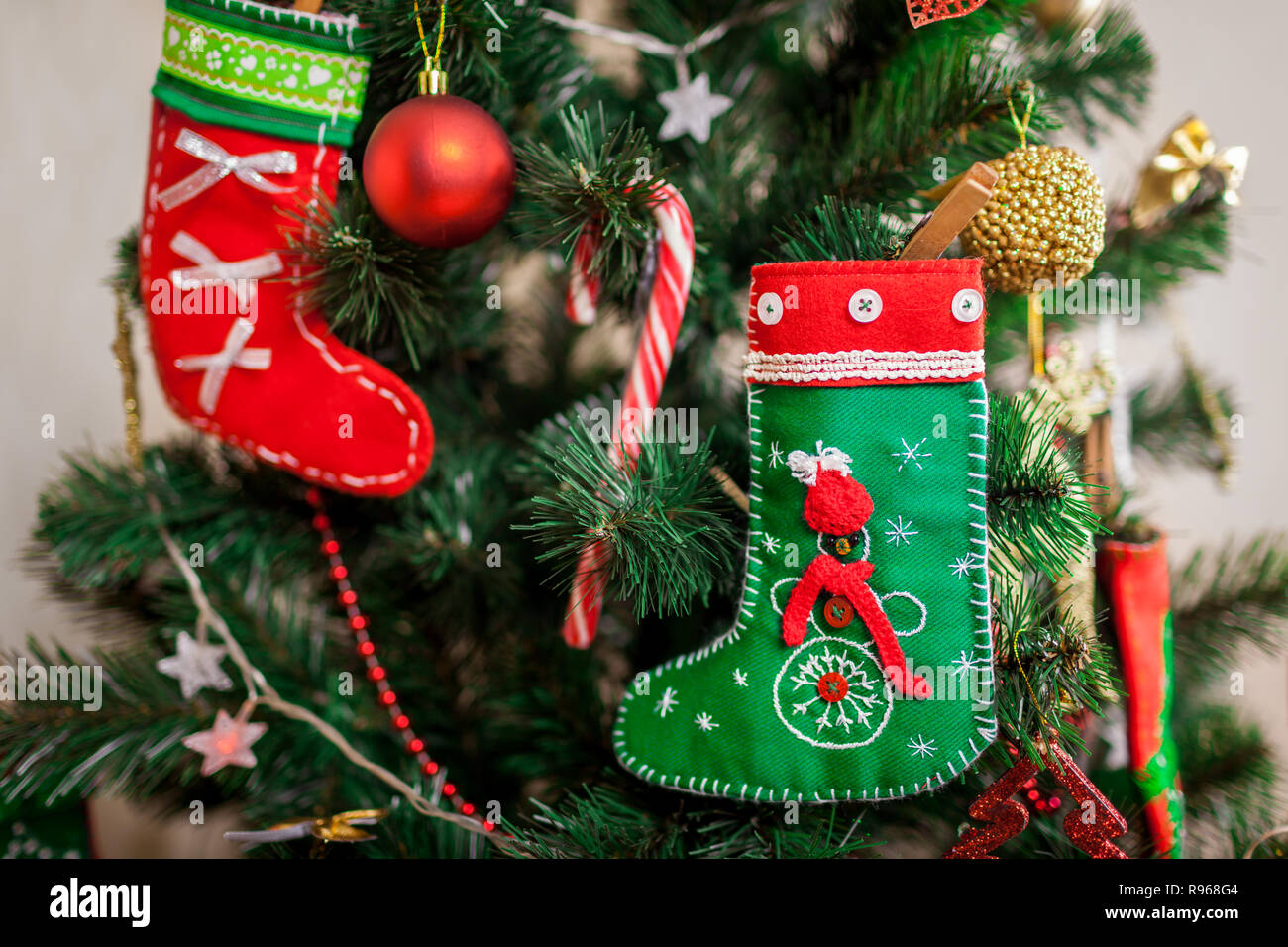 Decorated Christmas Fireplace On A Brick Wall Stock Photo Image Hanging Garland Stock Photos & Hanging Garland Stock