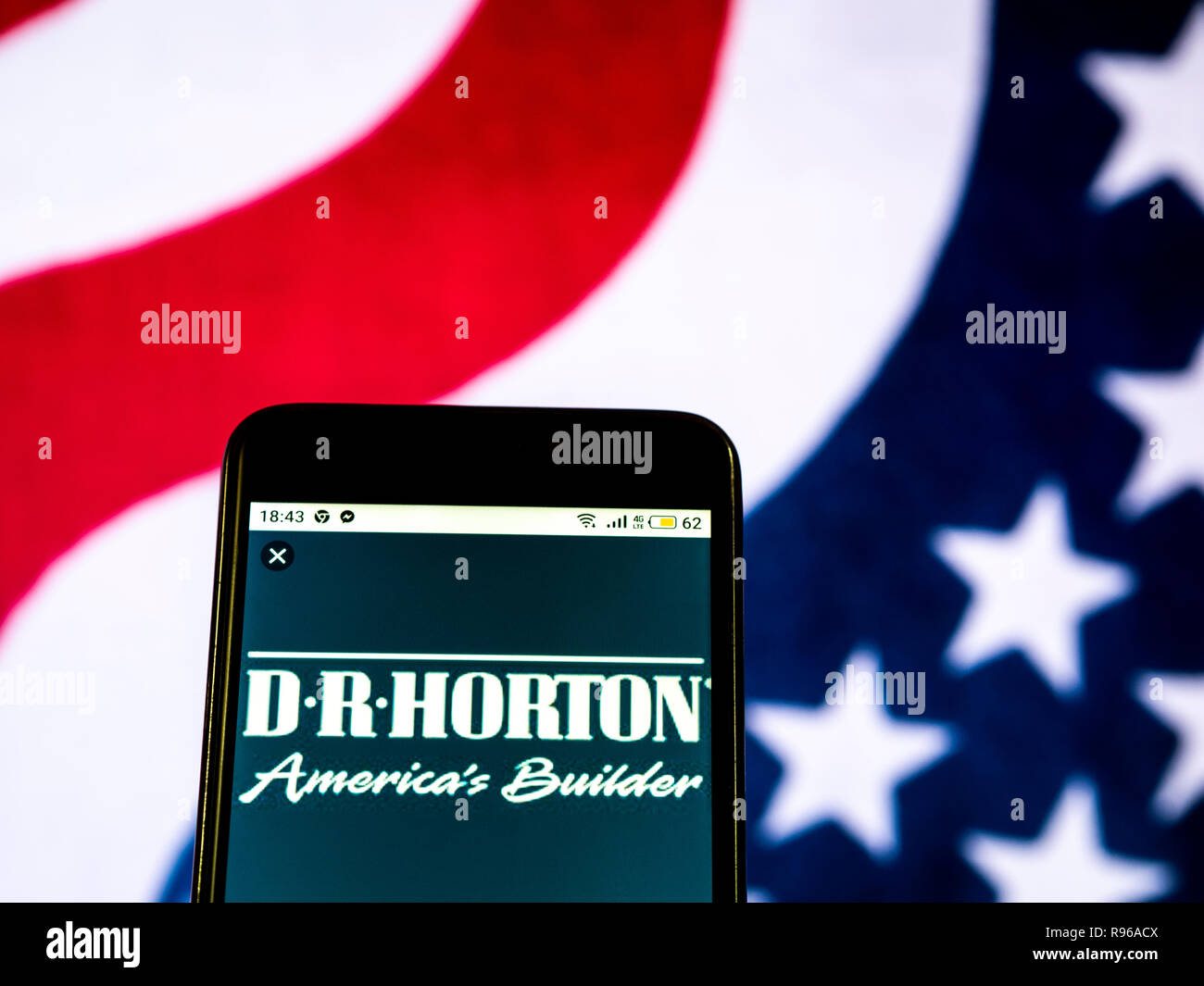 hight resolution of d r horton home construction company logo seen displayed on smart phone