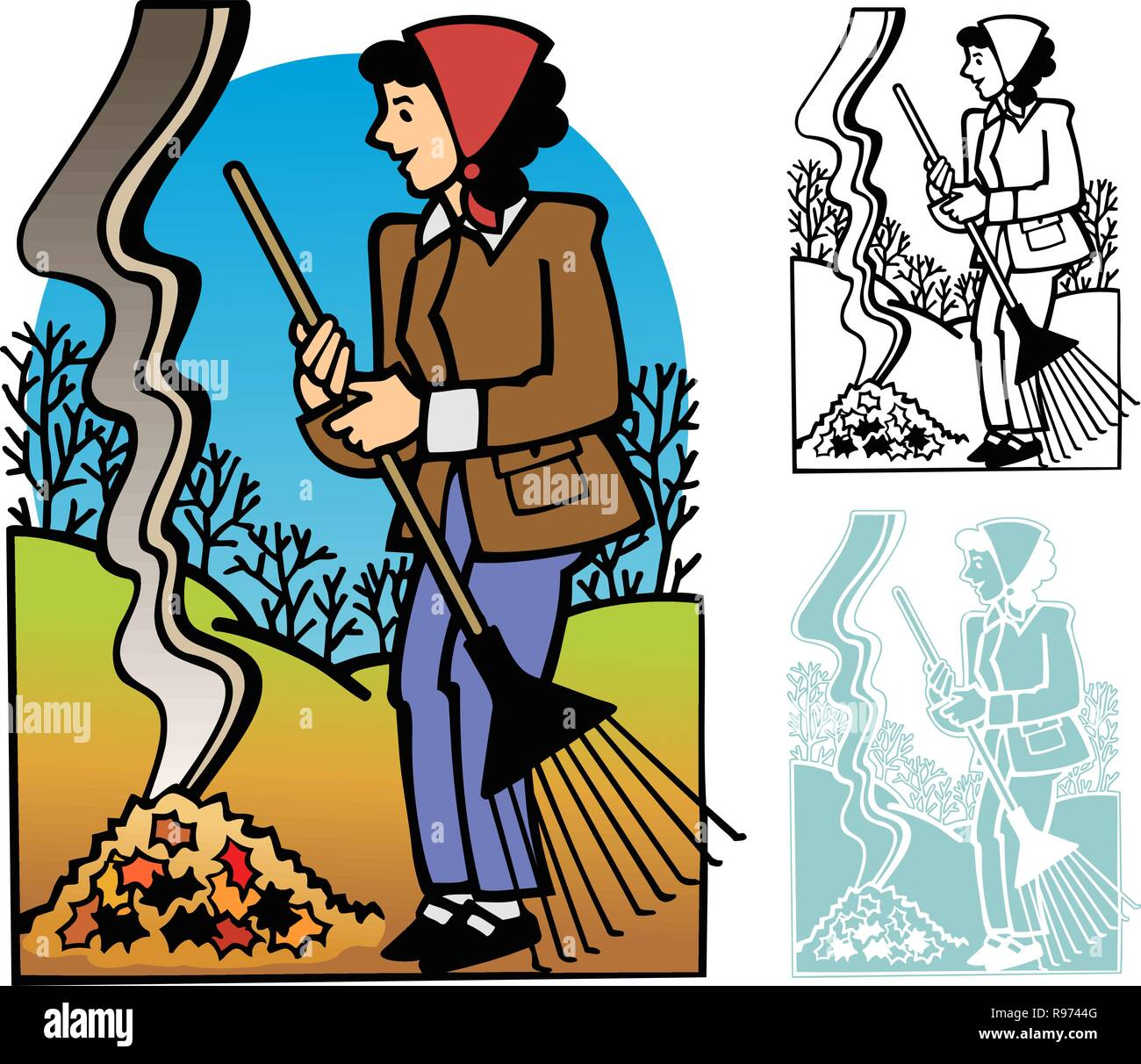 hight resolution of woman raking and burning fallen leaves