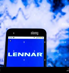 lennar corporation home construction company logo seen displayed on smart phone [ 1300 x 1064 Pixel ]