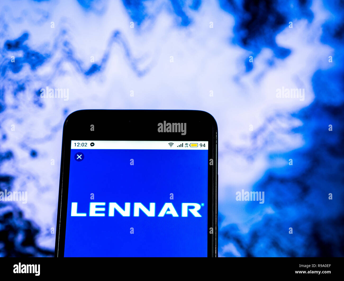 hight resolution of lennar corporation home construction company logo seen displayed on smart phone