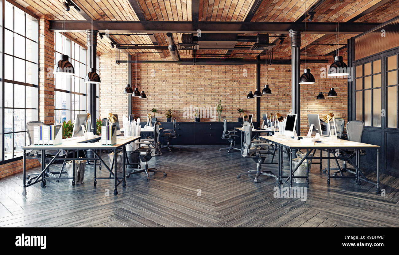 https www alamy com modern office interior design loft concept 3d rendering image229564535 html