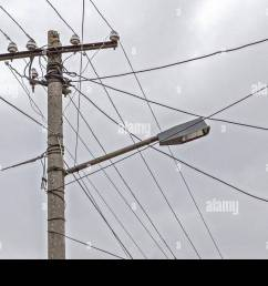 dual use of pole for telephone wires street light village albania [ 1300 x 956 Pixel ]