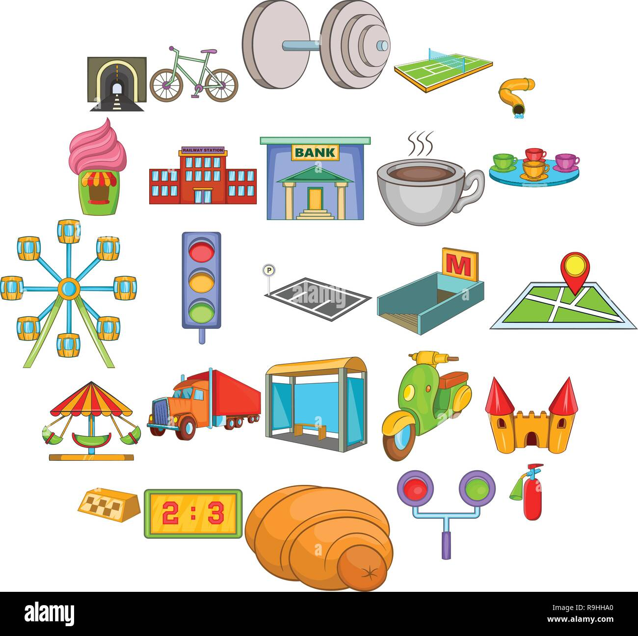 infrastructure icons set cartoon