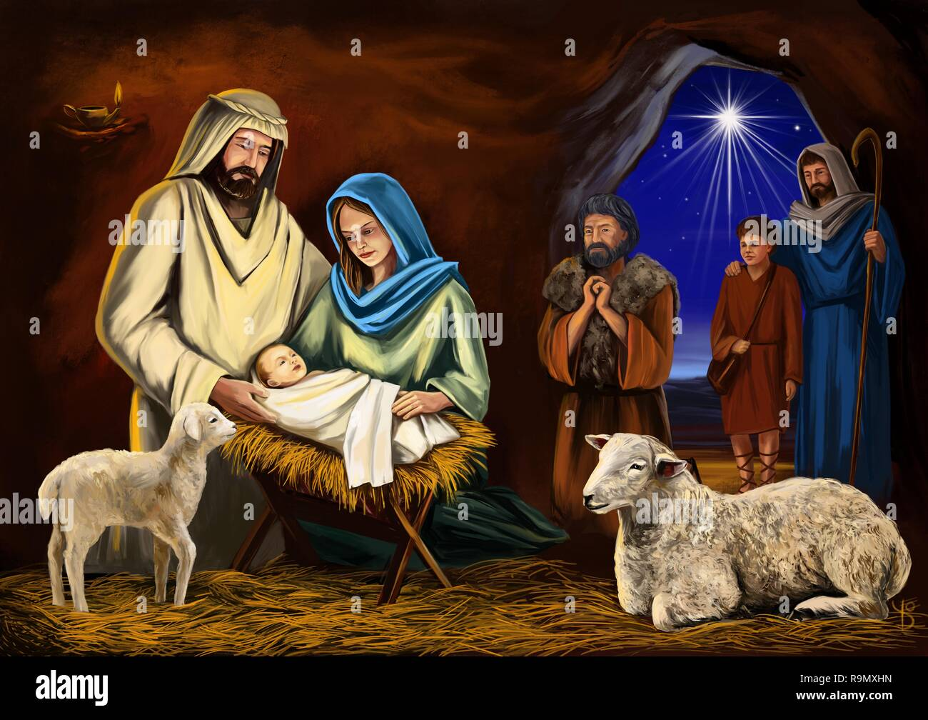Christmas Story Christmas Night Mary Joseph And The Baby Jesus Son Of God Symbol Of Christianity Art Illustration Hand Drawn Painted Stock Photo Alamy