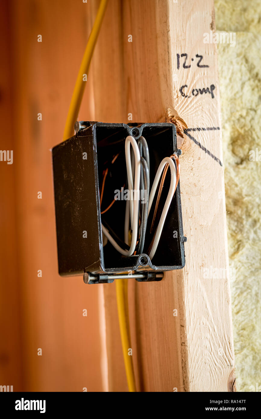 hight resolution of bare wires folded into an electrical box in a new home under construction