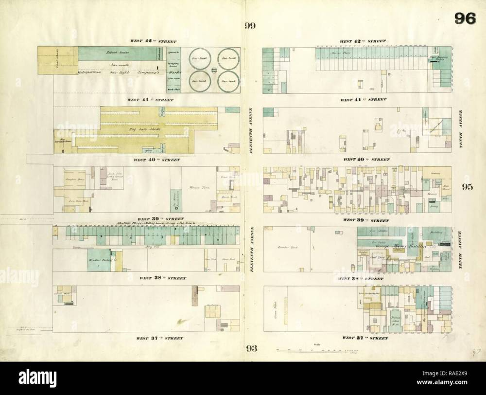 medium resolution of plate 96 map bounded by west 42nd street tenth avenue west 37th street twelfth avenue 1857 1862 perris and reimagined