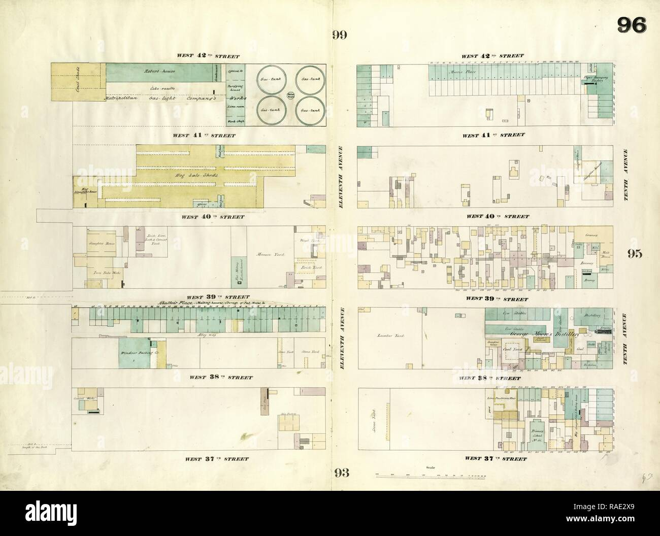 hight resolution of plate 96 map bounded by west 42nd street tenth avenue west 37th street twelfth avenue 1857 1862 perris and reimagined